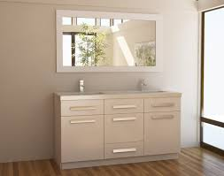 ivory 60 inch bathroom vanity with modern brass handle drawer and laminate wood floor also