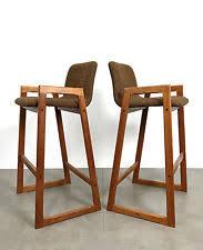 mid century modern stools. Vintage Mid Century Danish Modern Teak Bar Stools Brown Tweed Counter