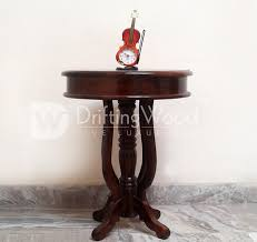 sheesham wood round end table brown