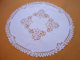 white battenburg lace round table topper 36 inch