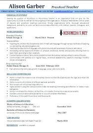 Free Teaching Cv Template Download Resume Preschool Teacher