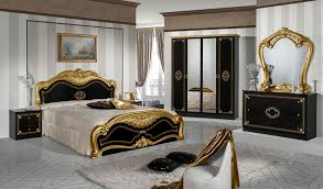 Lucy Italian Bedroom Set Black & Gold Brixton Beds