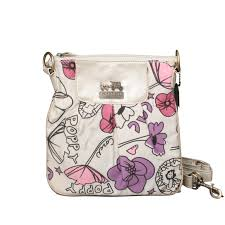 Coach Flower Poppy Small White Crossbody Bags EPQ Sale Clearance Outlet