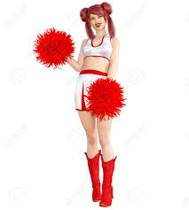 3d beautiful red hair cheerleader skirt and long boots bright makeup woman studio photography