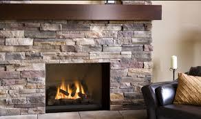 On Gray Stone Fireplace ...