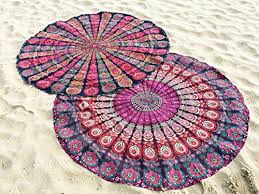 set of 2 indian mandala beach tapestry bohemian beach throw hippie round tablecloth