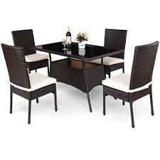 Costway 5 piece outdoor patio furniture rattan dining table cushioned chairs set brown