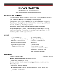 Resume Printing Awesome 2820 Best Printing Press Operator Resumes ResumeHelp