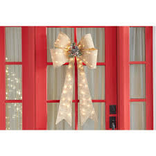 Lighted Holiday Bow Holiday Lighted Burlap Bow Door Decoration Indoor Outdoor 36