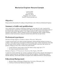 Mechanical Engineering Intern Resume Objective Examples Career