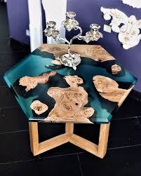 hexagon table live edge coffee