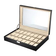 amazon com ollieroo watch box 24 slots men black pu leather ollieroo watch box 24 slots men black pu leather display glass top jewelry case organizer