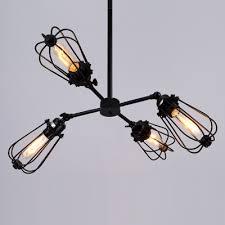 black cage bulb style four light muedium led chandelier