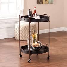 southern enterprises linwood black and aged bronze serving cart