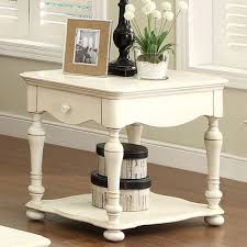 riverside placid cove rectangular end table honeyle white finish acacia wood construction open shelf below drawer for storage 303