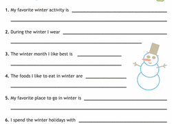 st grade writing worksheets printables com sentence writing winter