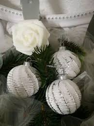 Details Zu Weihnachtskugel Glas Weiß Christbaumschmuck Shabby Chic Vintage