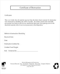 Letter Of Destruction Template Certificate Of Destruction Templates