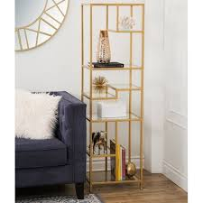 Glass shelves bookcase Brass Abbyson Rowley Gold Glass Book Shelf Anhduong Shop Abbyson Rowley Gold Glass Book Shelf On Sale Free Shipping