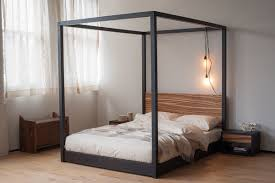 Poster Bedroom Furniture Zebrano Cube 4 Poster Bed Natural Bed Company