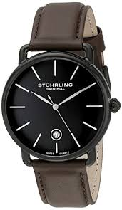 stuhrling original men s 768 03 ascot swiss quartz date brown stuhrling original men s