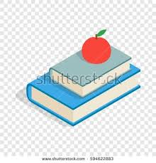 red apple and two books isometric icon 3d on a transpa background vector ilration