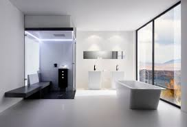 airy modern bathroom with porcelain freestanding tub with shower and gleaming shower