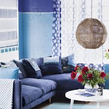 Blue and white living room with two-tone wall