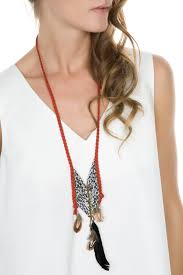 red suede cord long necklace