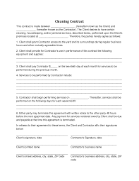 sample cleaning contract agreement cleaning contract