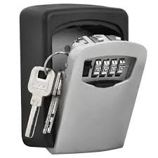 4 digit password combination key lock box wall mount outdoor case boxes aluminum