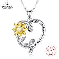 <b>EUDORA</b> Real <b>100</b>% <b>925</b> sterling silver golden sunflower necklace ...