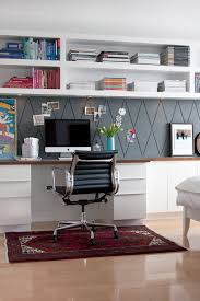 Home office wall shelving Design Home Office With Builtin Wall Shelving Jess Loraas On Design Sponge Via Remodelaholic Remodelaholic Remodelaholic Get This Look Easy Home Office With Wall Shelving