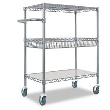rolling carts for office. Amazon.com: Alera 3-Tier Wire Rolling Cart, Black Anthracite: Kitchen \u0026 Dining Carts For Office S
