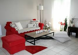 living room white tiles floor tiles red furniture flowers dekovasen