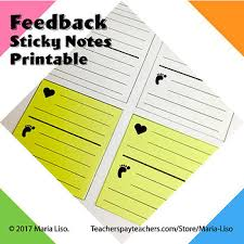Notes Template Printable Feedback Sticky Notes Template Conference Notes Post It Printable