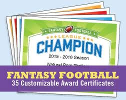 Football Certificate Template Delectable Fantasy Football Certificates Fantasy Football Trophy Etsy