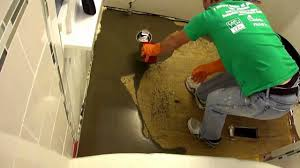 Screeding Bathroom Floor Mixing And Pouring Self Leveling Compound Hd Youtube