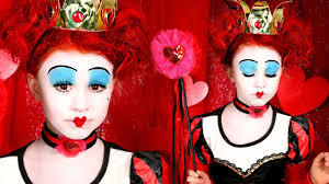 alice in wonderland red queen of hearts makeup and costume