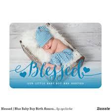 Blessed Blue Baby Boy Birth Announcement Boy Birth Announcements