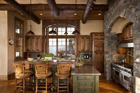 ... Kitchen Interior Decoration Astounding Stem Pillar Ceiling Exposed And  Hanging Light Over Bar Wooden ...