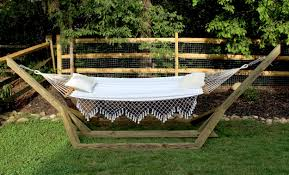 free standing hammock. Plain Free This Freestanding Wood Hammock Stand Uses Basic Treated Posts  Screws And 45 Degree Angles To Create A Custom For About 60 In Material Cost Throughout Free Standing Hammock N