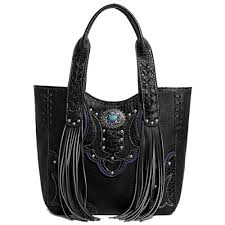 RHBT947TQ Purse Studded Rhinestone Buckle Embroidered Western ShoulCountry Style Purses