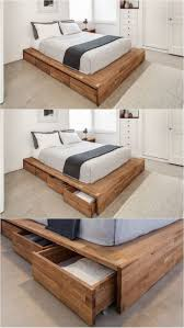 9 Ideas For Under-The-Bed Storage // Eight large rolling drawers tucked  right into this wood bed frame make it a convenient place for storing both  things ...