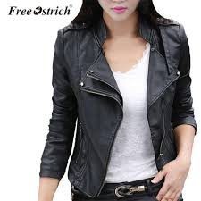 free ostrich 2018 autumn leather jacket women plus size womens leather clothing coat lady clothing m