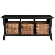 bathroom black wooden laminate bathroom bench with 3 wicker storage baskets dark timber bathroom bench