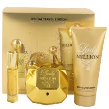 paco rabanne lady million gift set 80ml edp 10ml edp 100ml body lotion