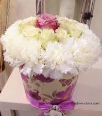 Rose Flower With Paper China Paper Tube Hat Box For Rose Flower Flower Displaying Paper