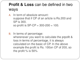 Proffit And Loss Percentage Profit And Loss