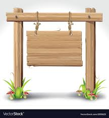 wood sign board hanging with rope vector image